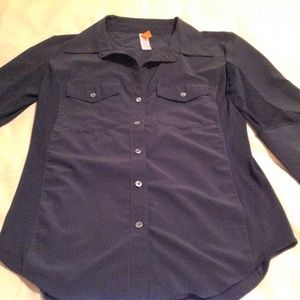 Lucy Tops - Lucy Woman's Button Up Blouse Black 3/4 Sleeve EUC